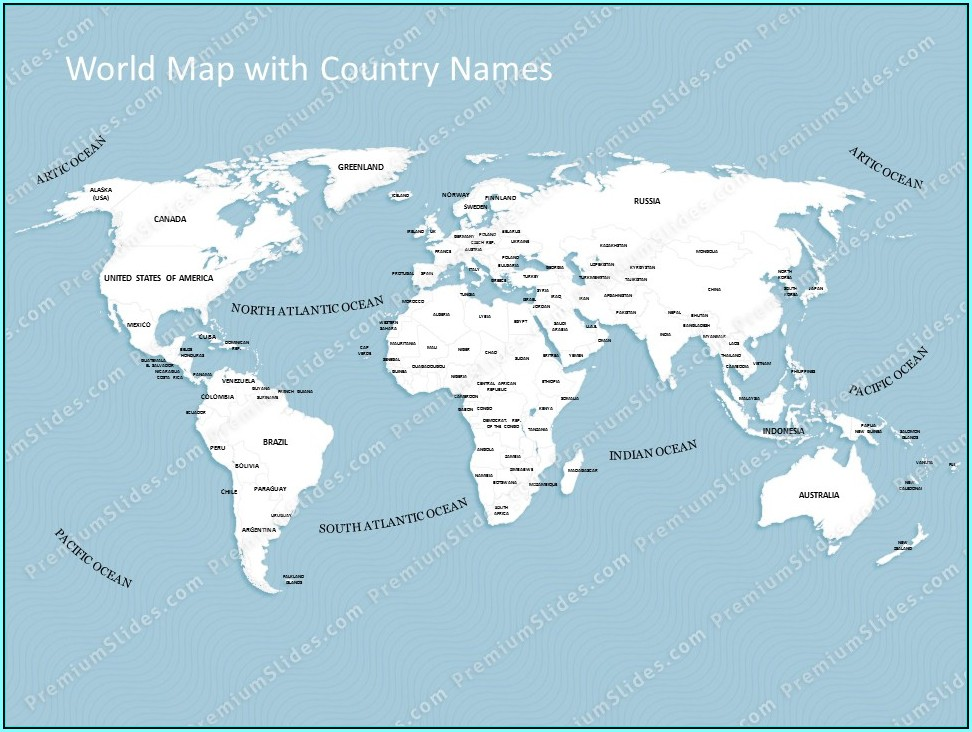 Editable World Map Powerpoint With Country Names