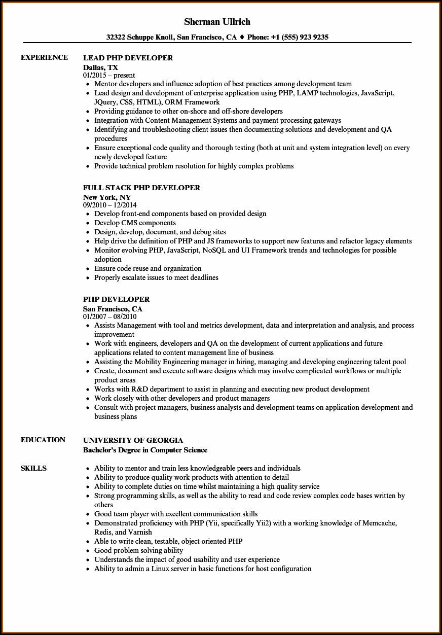 Experienced Magento Developer Resume