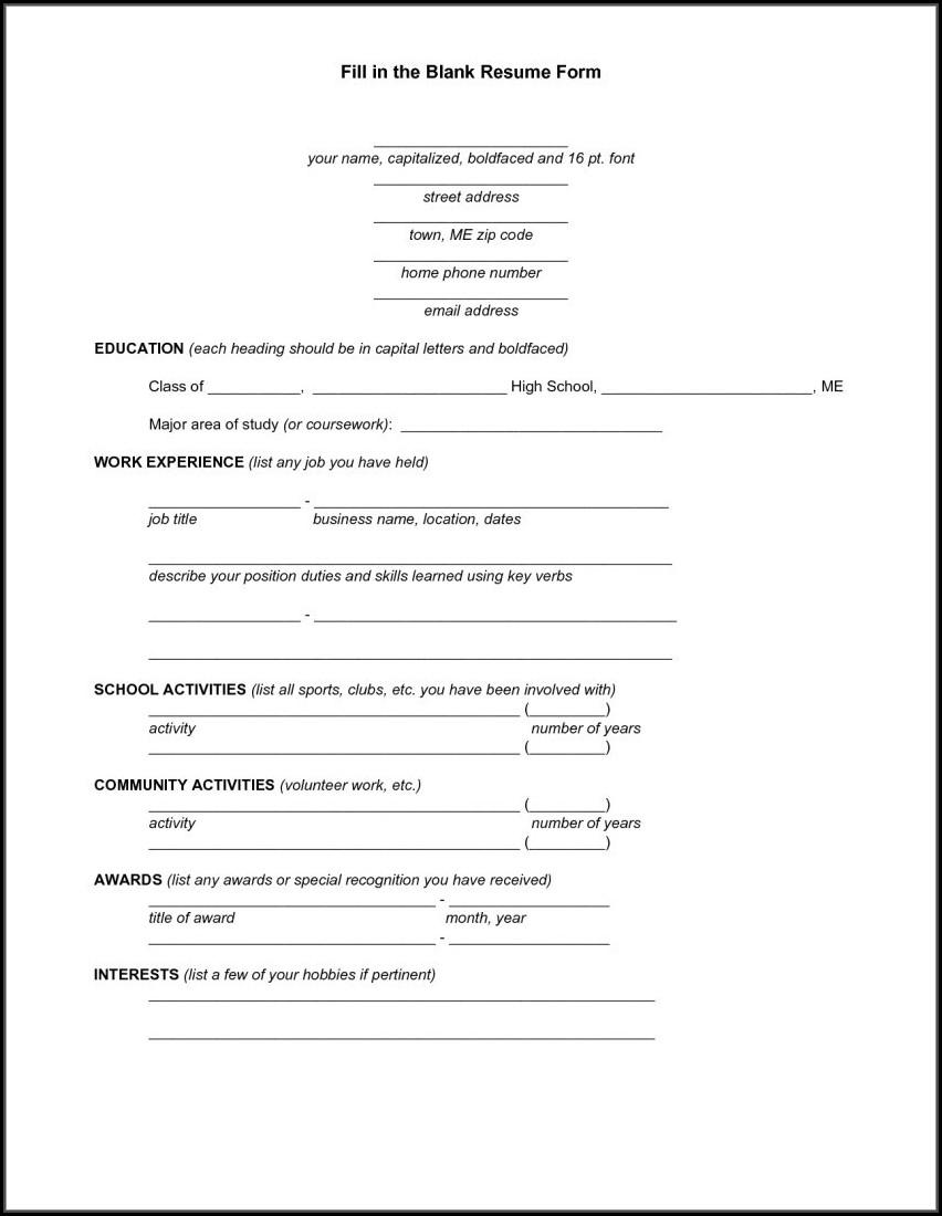 Fill Up Resume Form Online