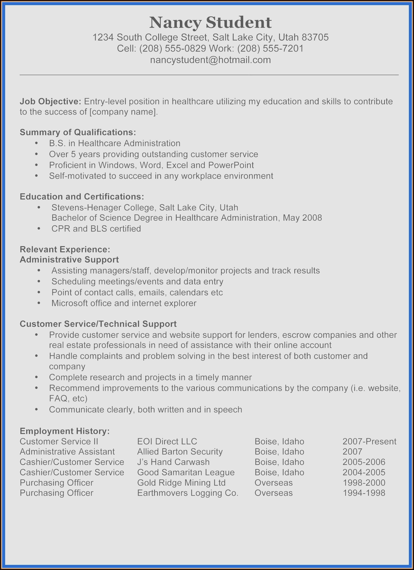Free Customer Service Resume Samples