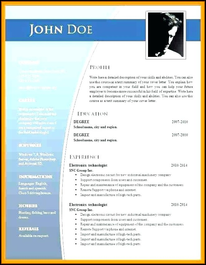 Free Download Cv Format In Ms Word 2010