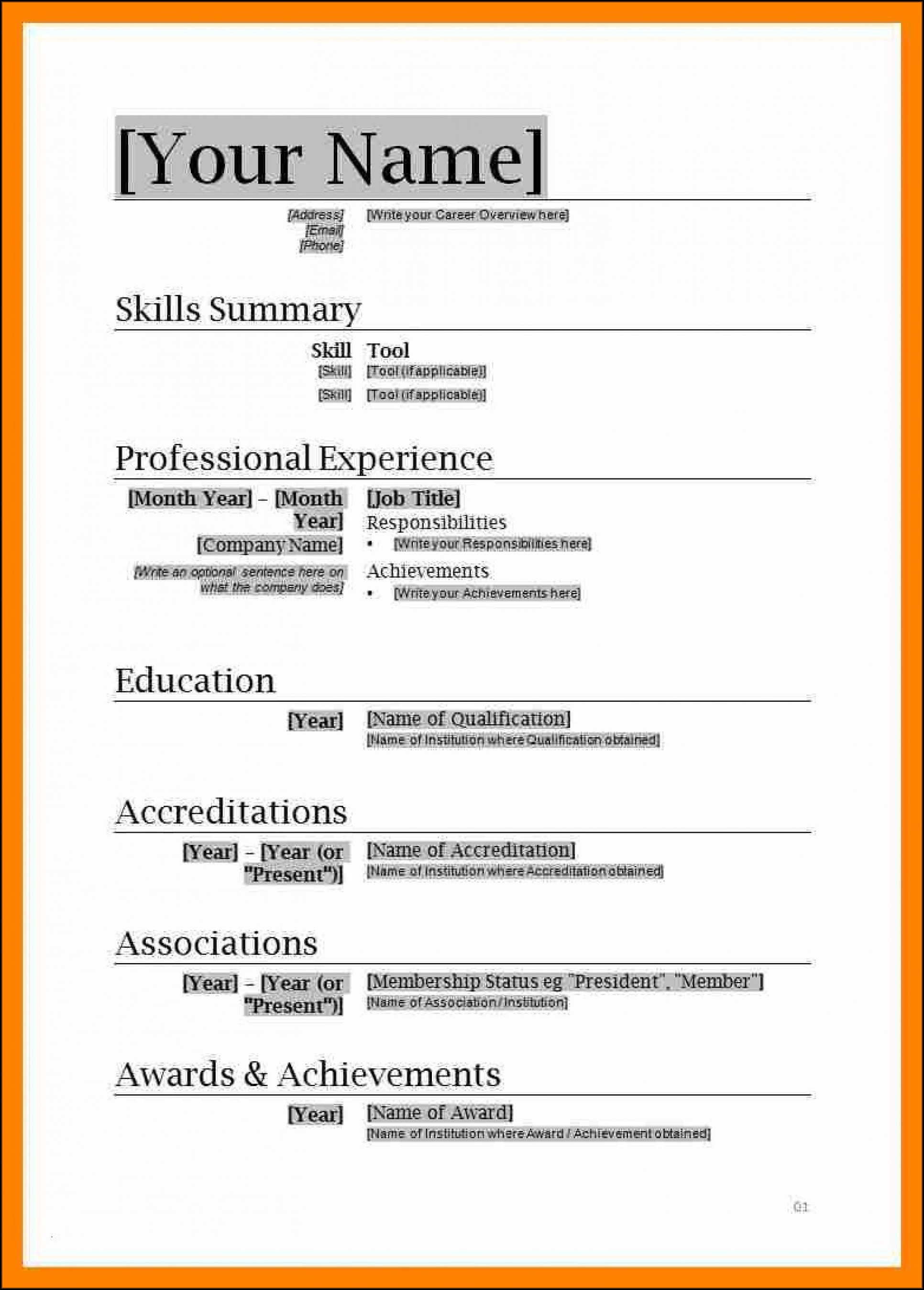 Free Resume Format Download In Ms Word 2007