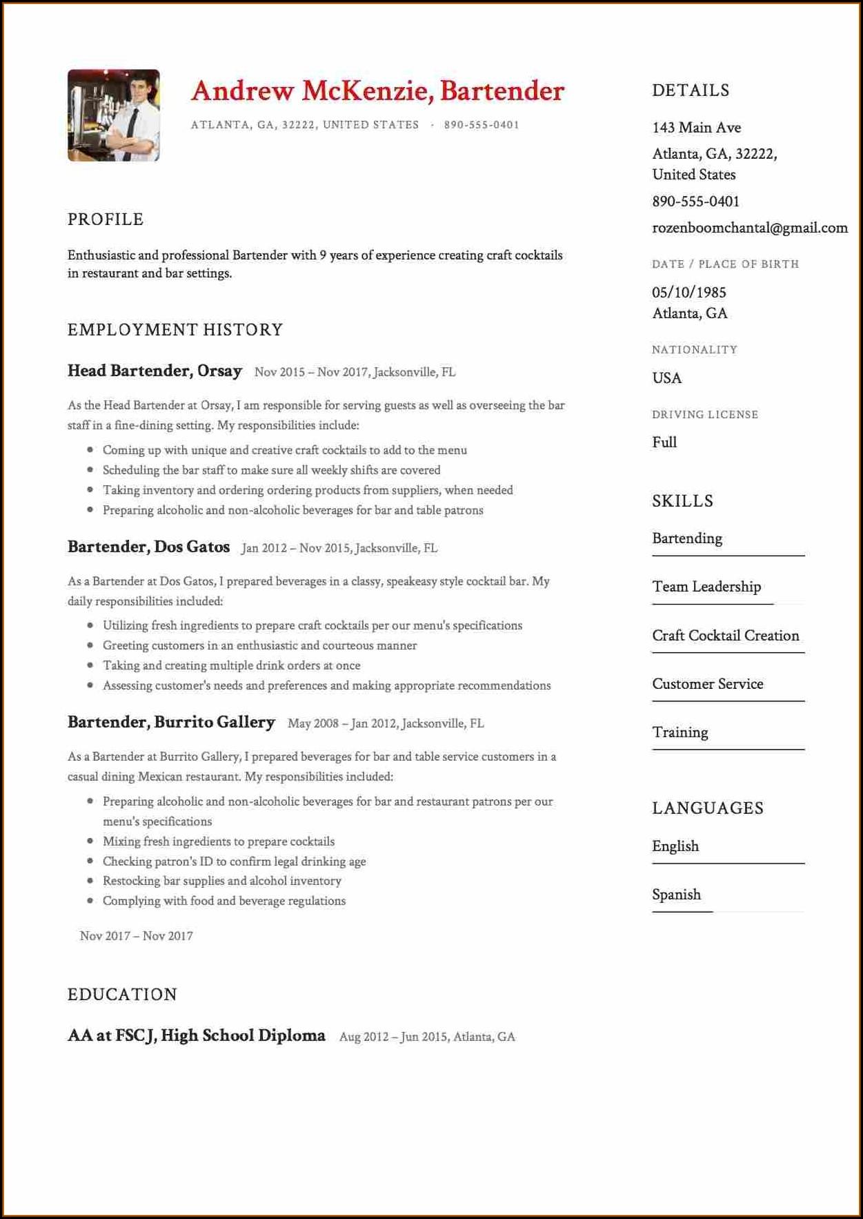 Free Resume Samples 2019