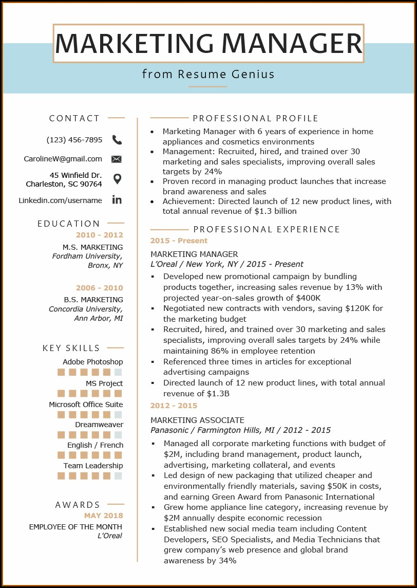 Free Resume Templates Marketing Manager