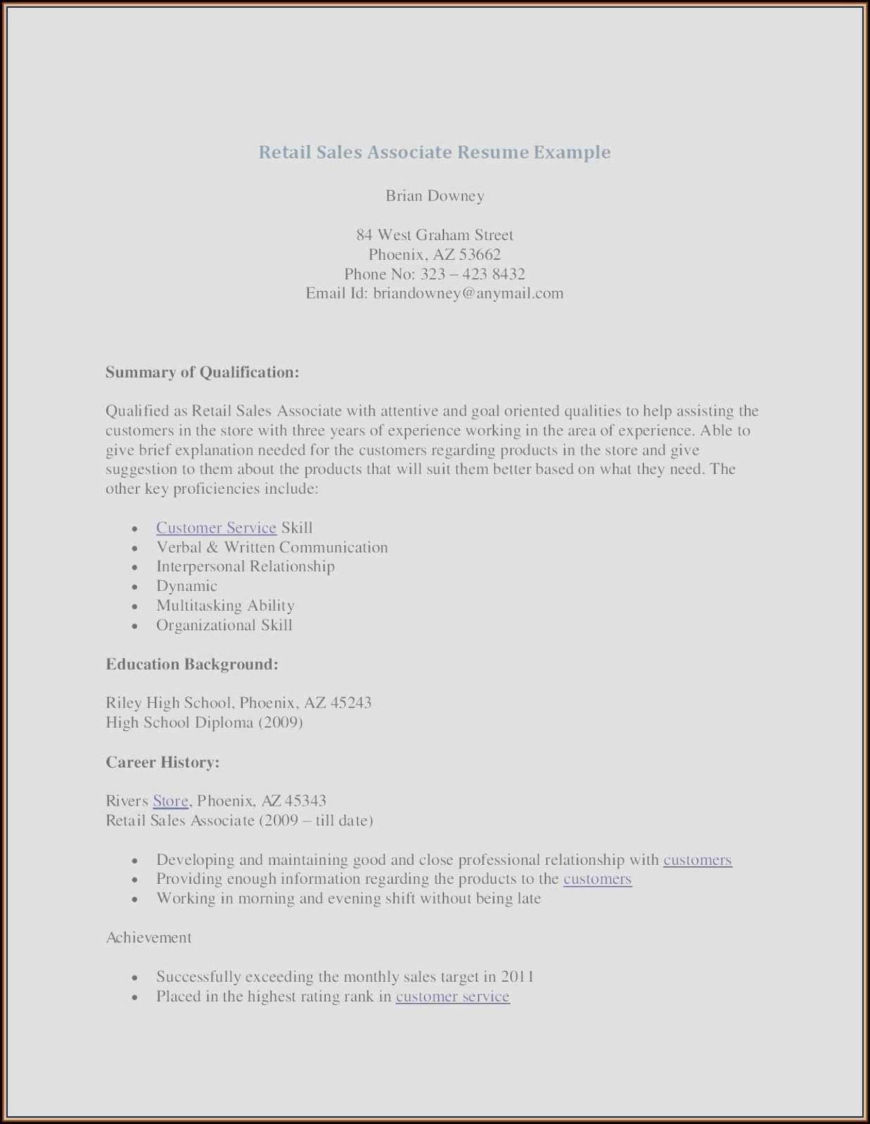 Free Sales Associate Resume Templates