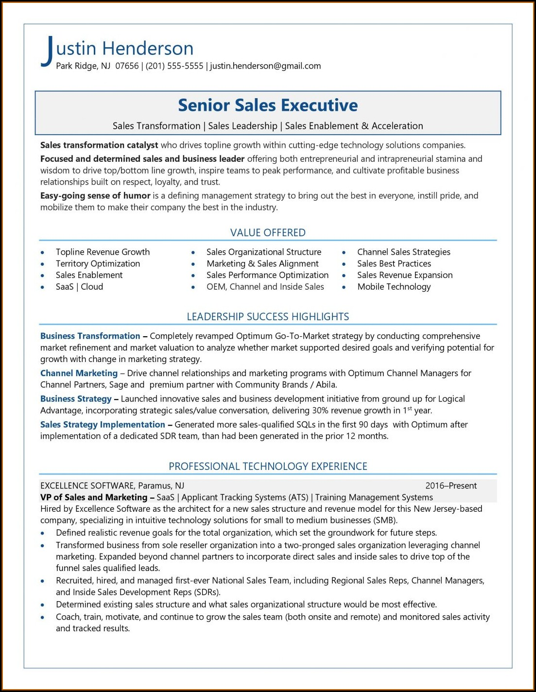 Free Sales Resume Templates 2018