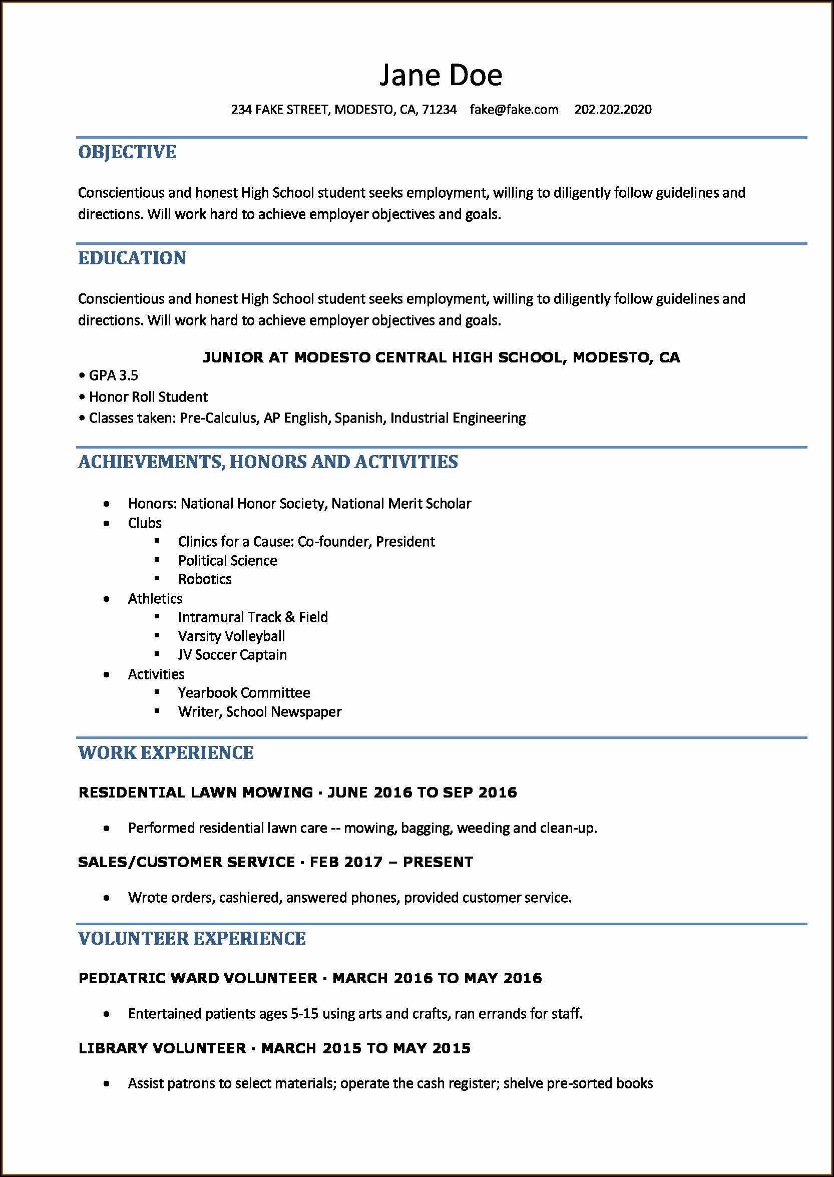 Free Sample High School Resume Template