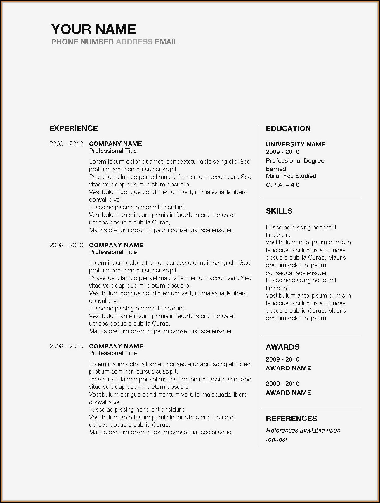 Free Sample Resume Download In Word Format