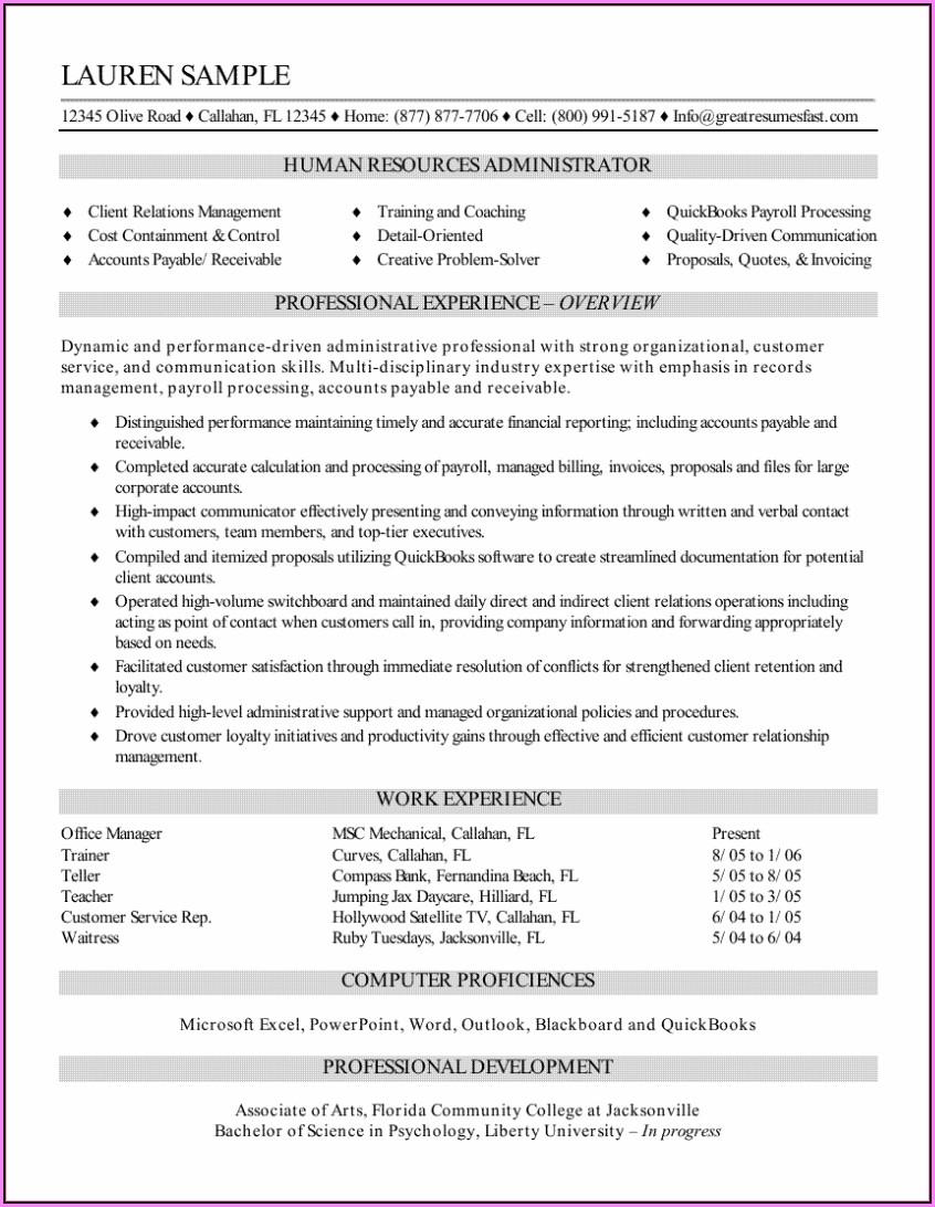 Hr Admin Resume In Word Format