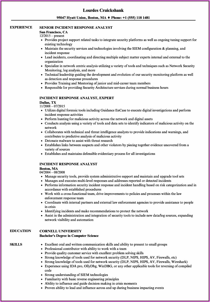 Incident Management Resume Sample India