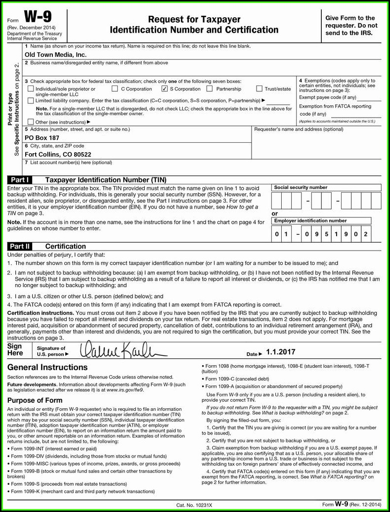 Irs W 9 Fillable Form 2017