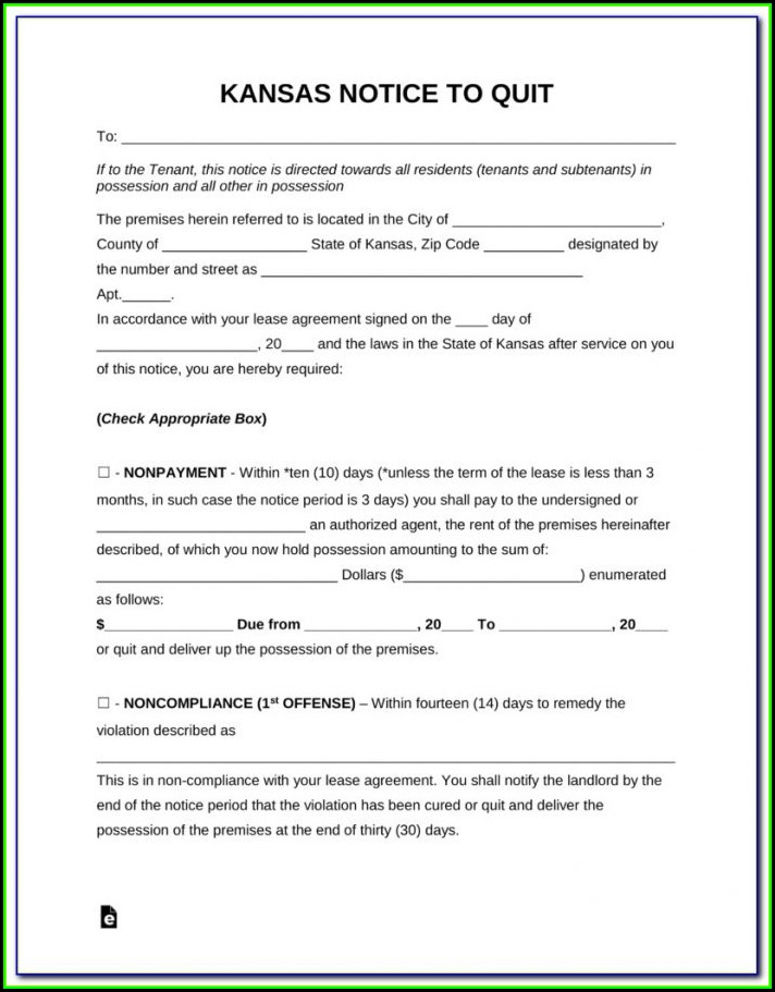 Kansas Eviction Notice Form Free