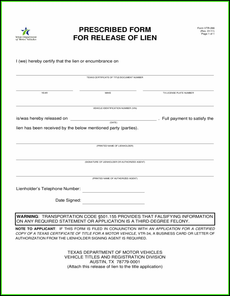Lien Holder Release Form Texas