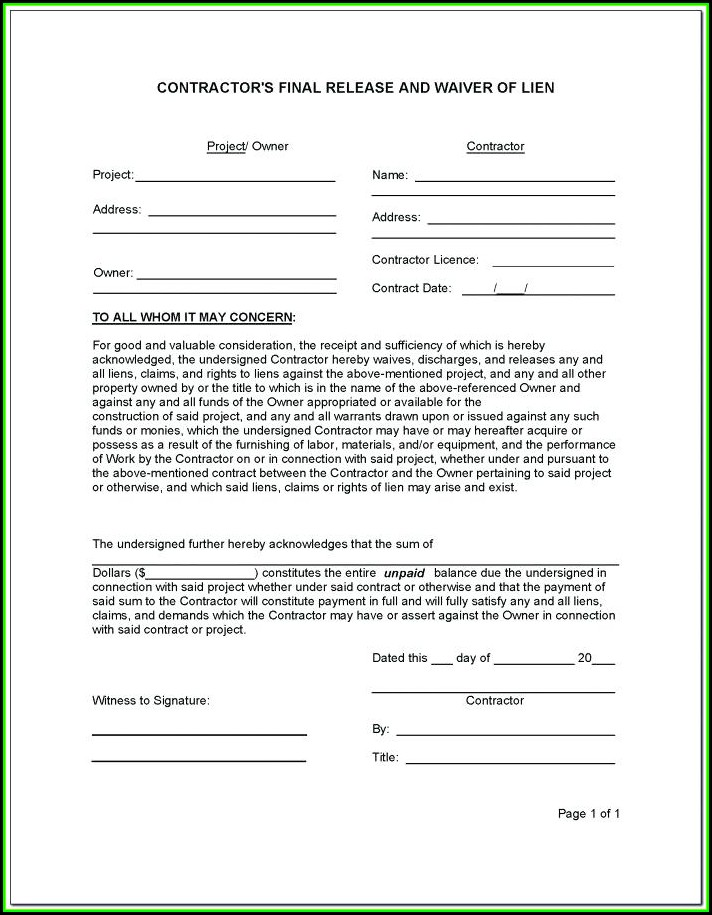 Lien Release Form Texas Contractor
