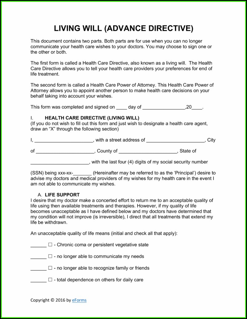 Living Will Advance Directive Template