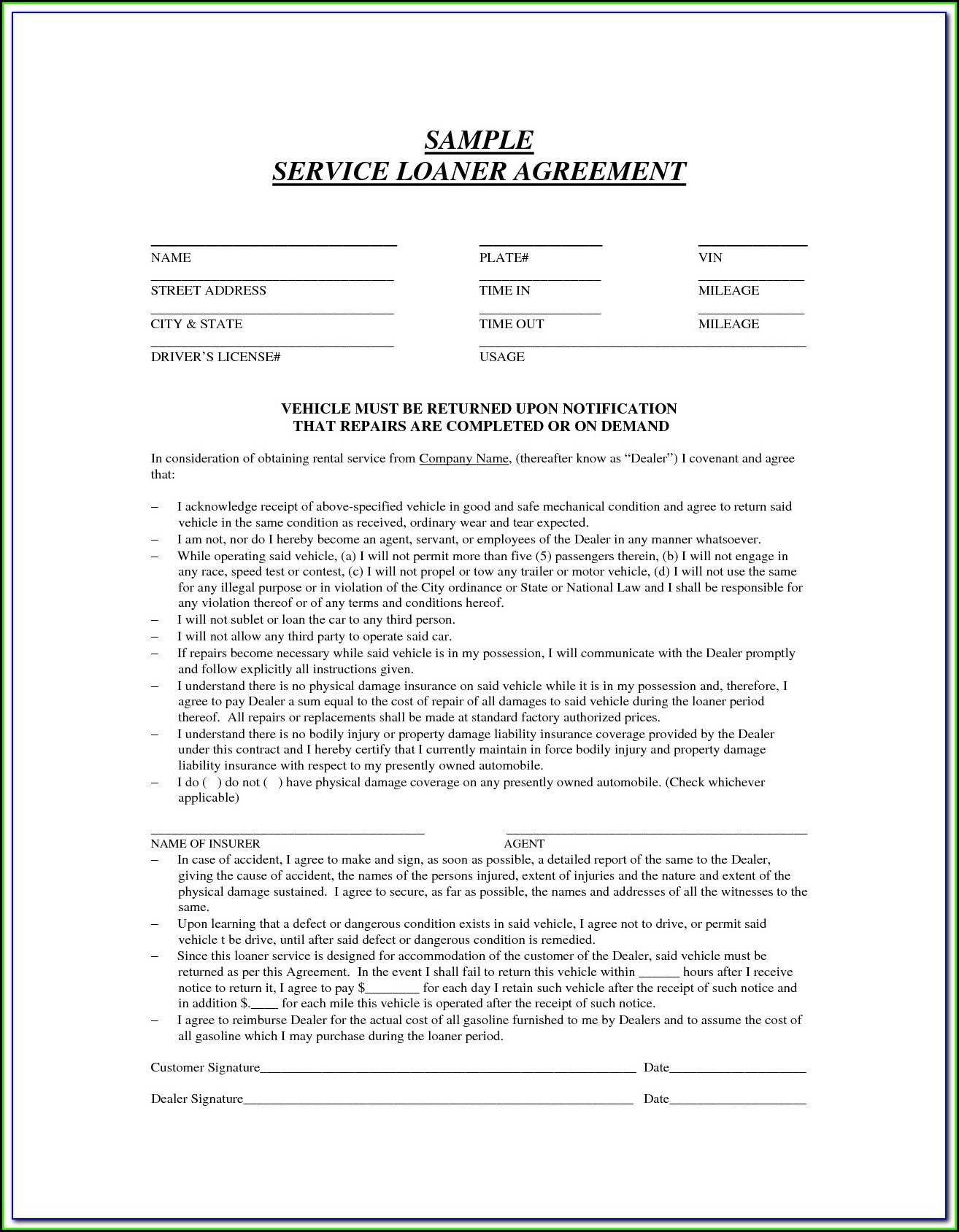 Loaner Car Agreement Form