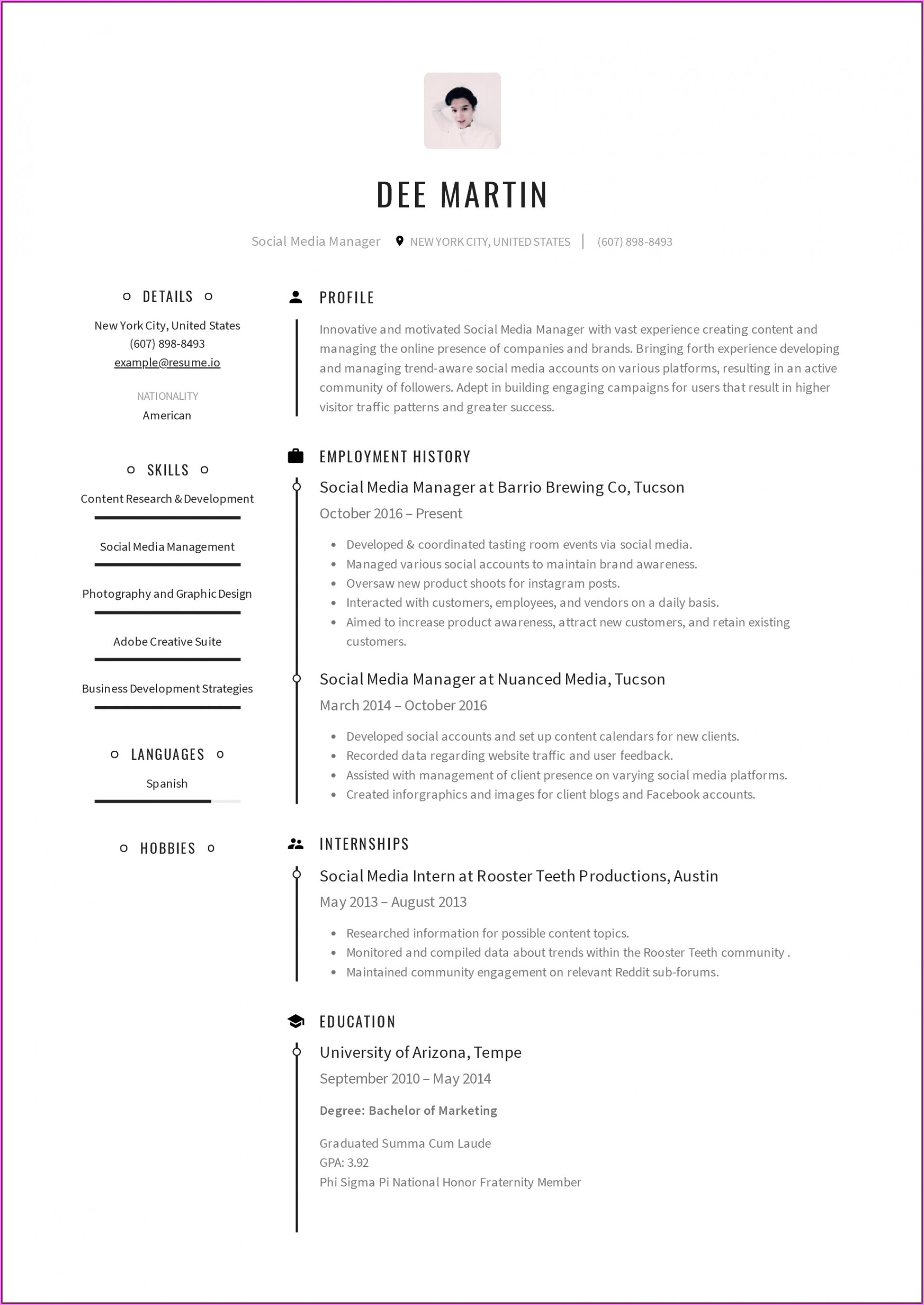 Marketing Resume Format Free Download