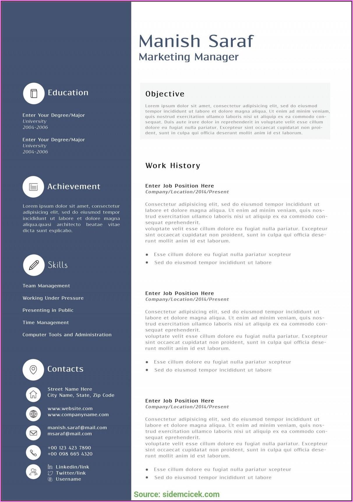 Marketing Resume Templates Free