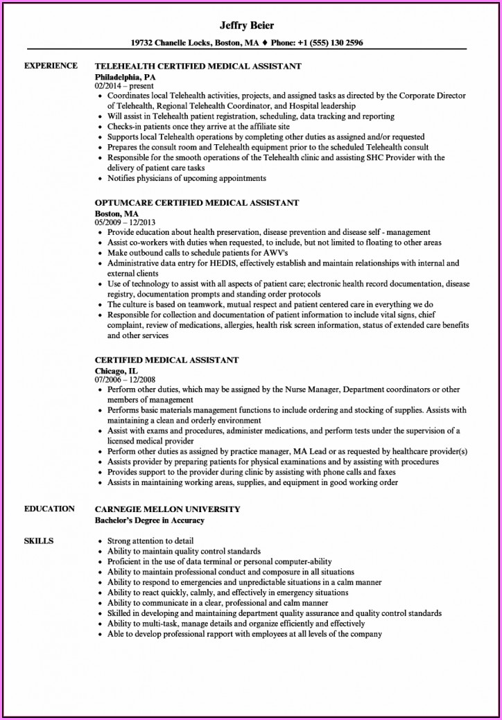 Medical Assistant Resume Samples Pdf