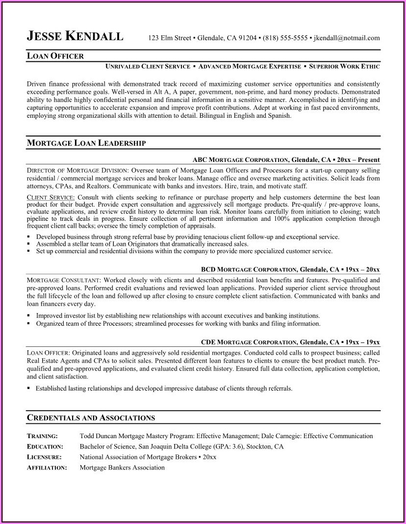 Mortgage Loan Servicing Resume