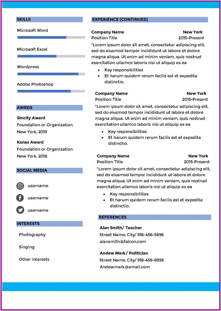 Ms Word Cv Template Free Download