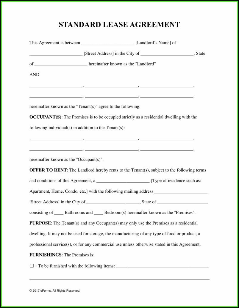 Nevada Rental Lease Agreement Form