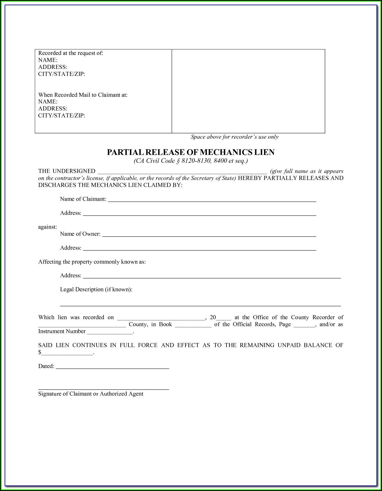 Notice Of Mechanic's Lien California Form