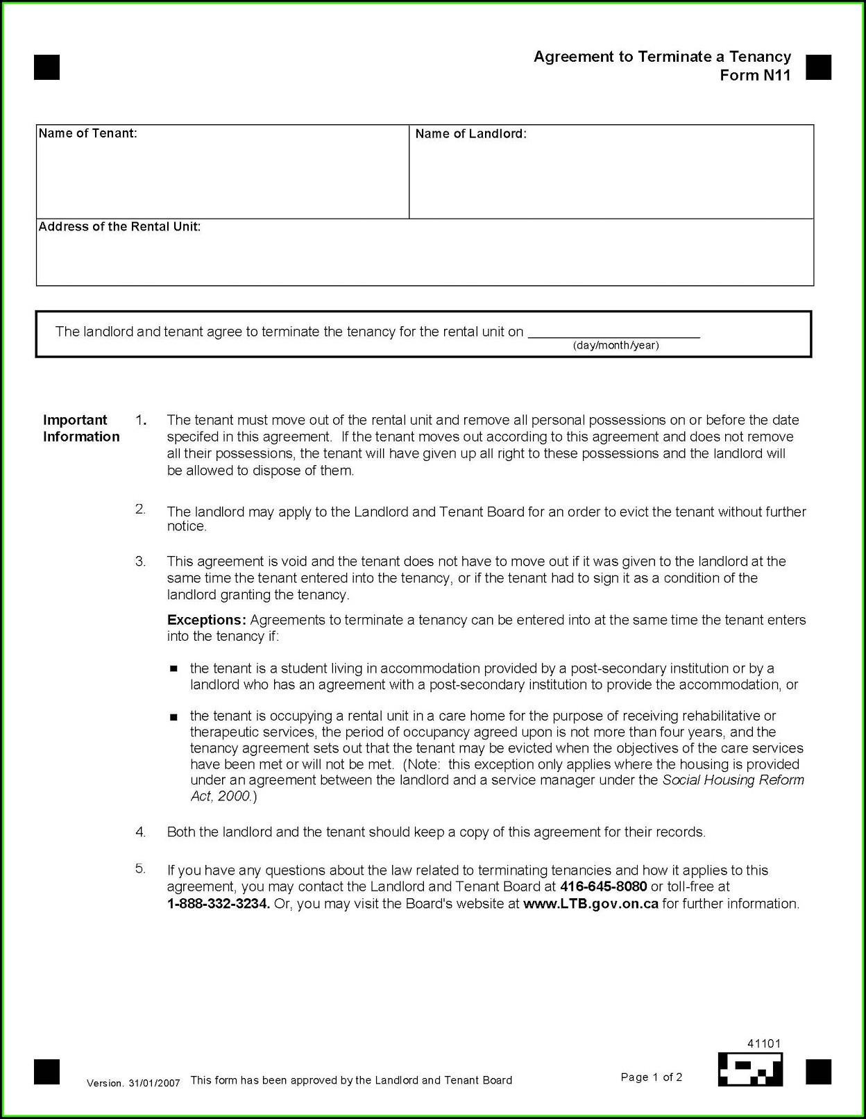 Notice To Terminate Tenancy Ontario Form N12