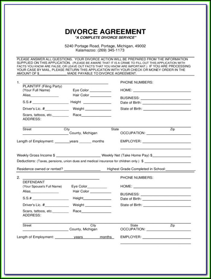 Oakland County Complaint For Divorce Form