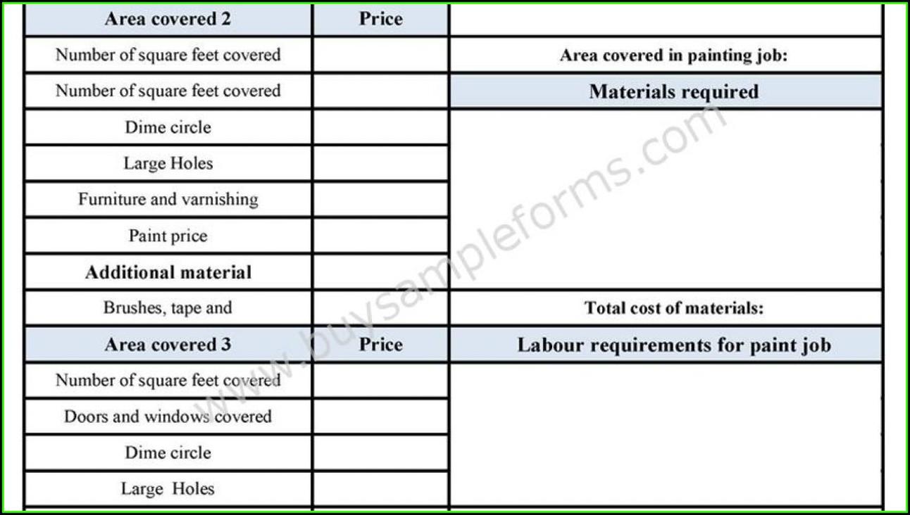 Painters Estimate Forms