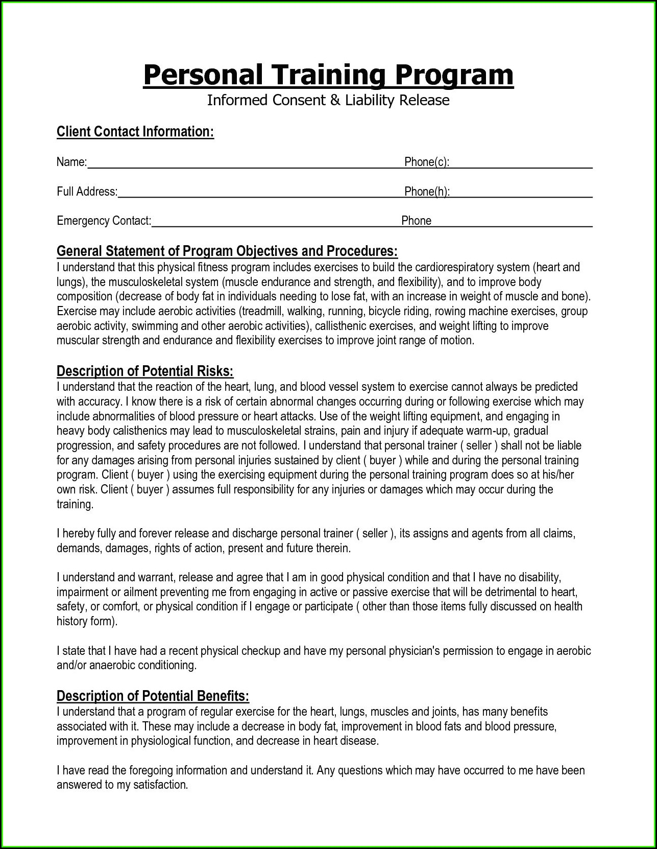 Personal Trainer Forms For Clients