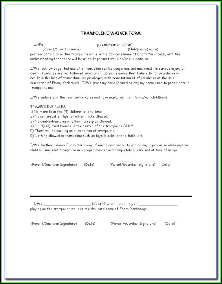 Personal Trampoline Waiver Form