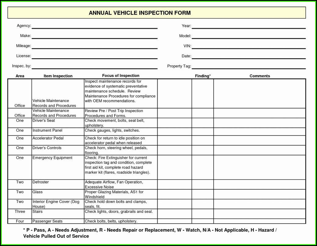 Pre Trip Inspection Form Checklist
