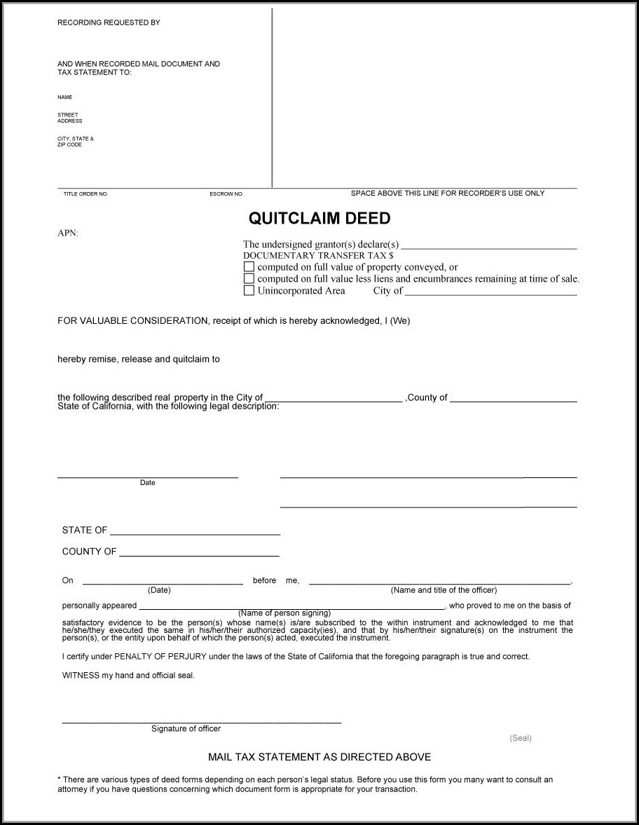 Printable Quick Claim Deed Form