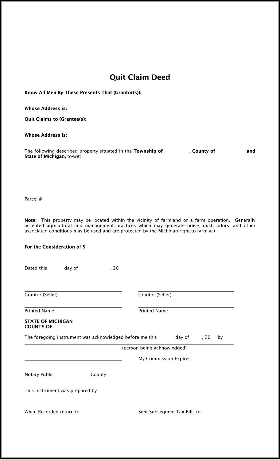 Printable Quit Claim Deed Form For Texas