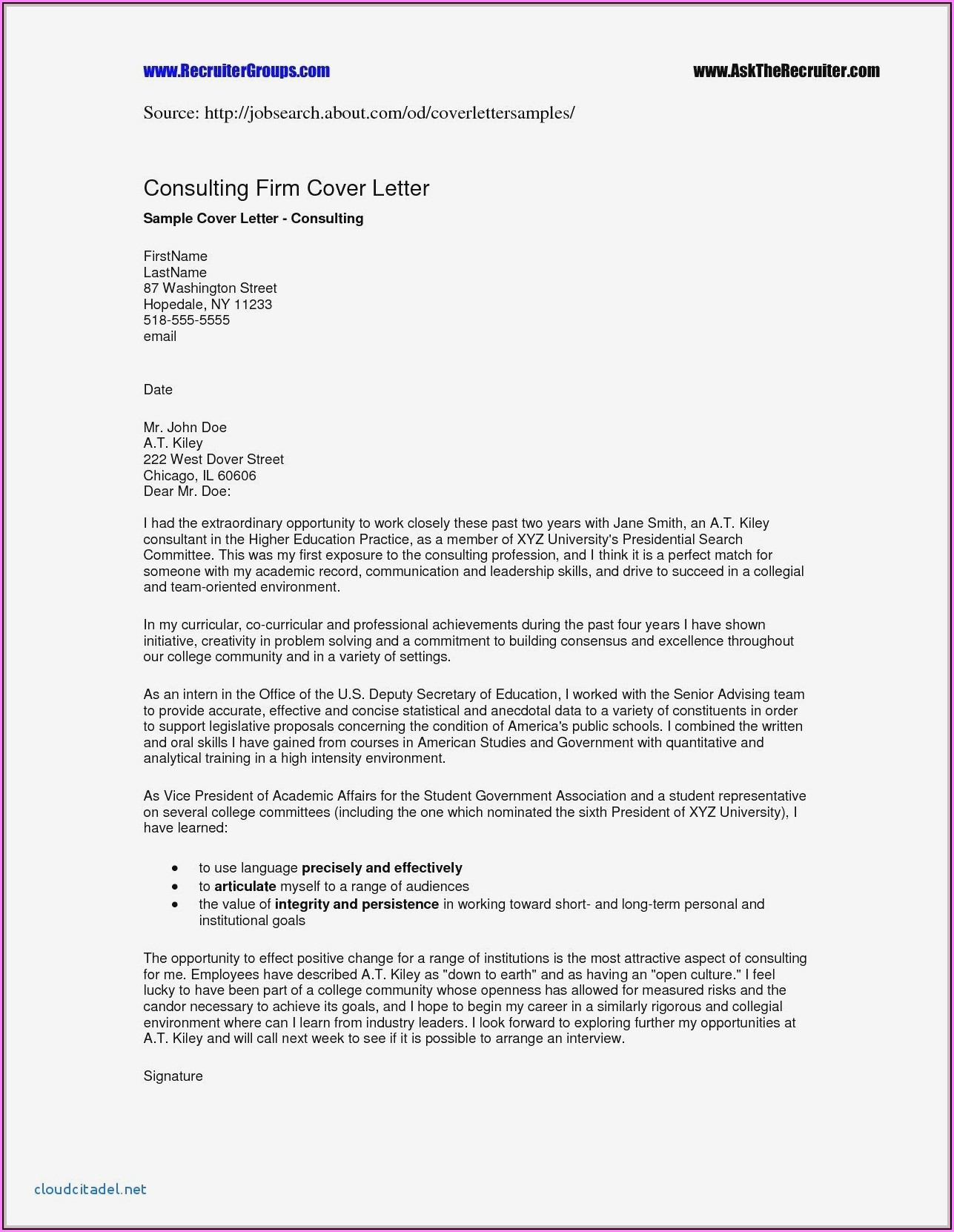 Professional Cover Letters For Resumes