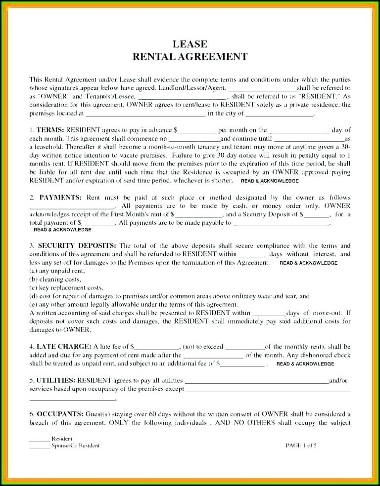 Rent Sublease Form