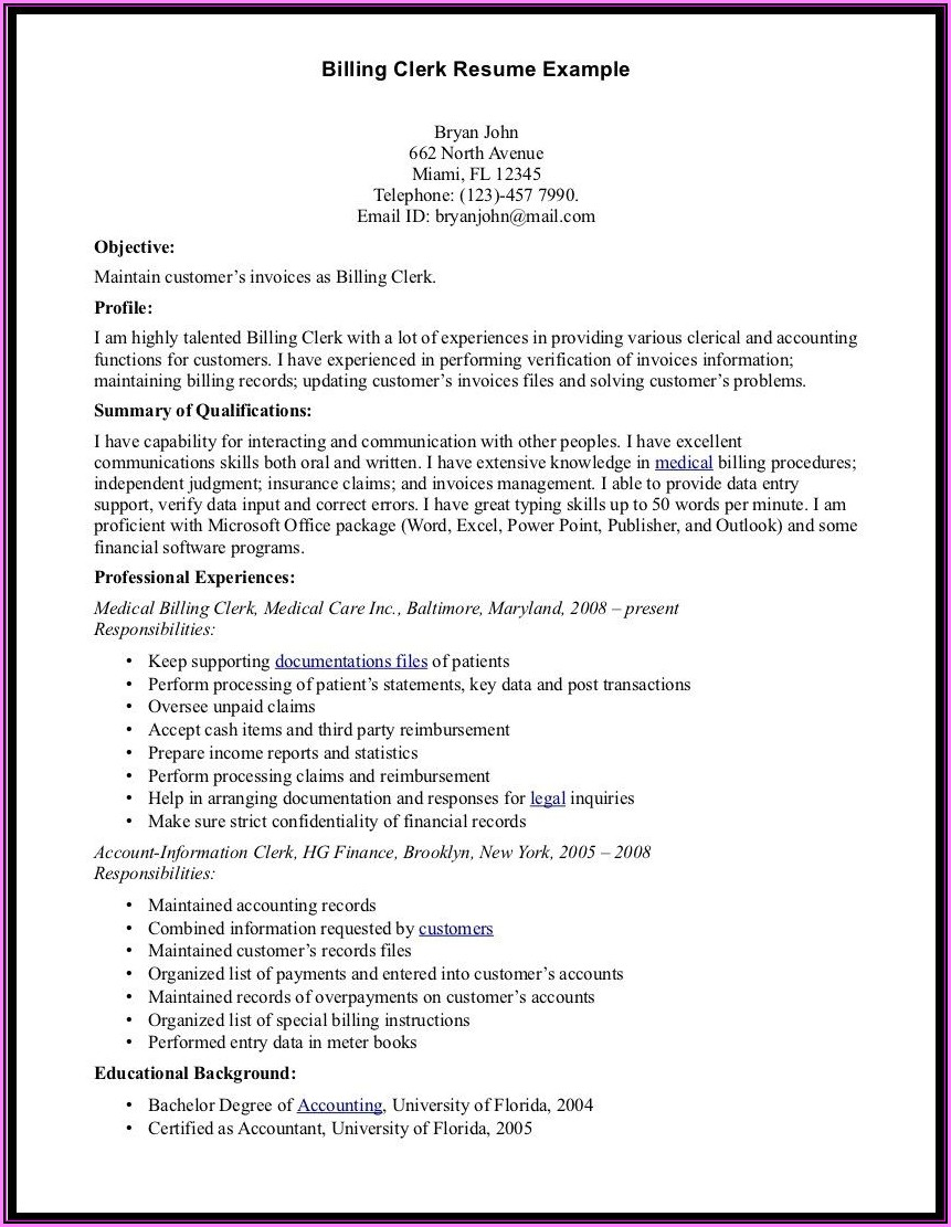 Resume For Medical Billing Manager