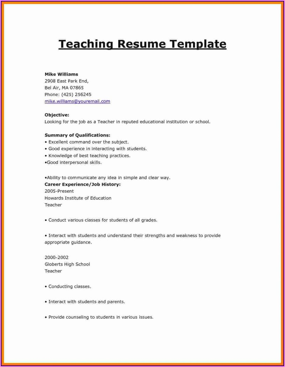 Resume Format For Teachers Job In Word Format