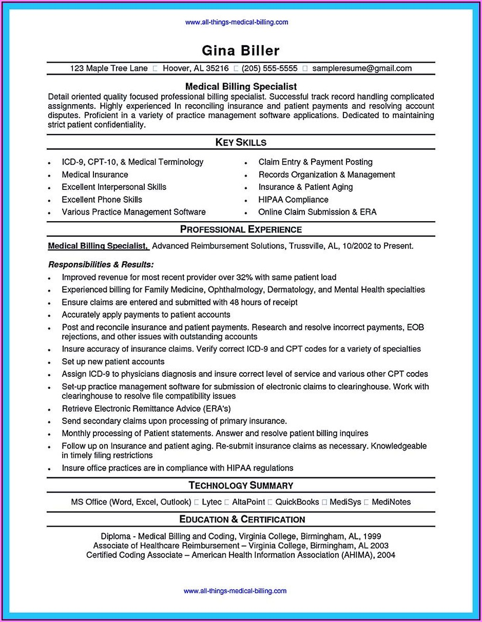 Resume Medical Billing