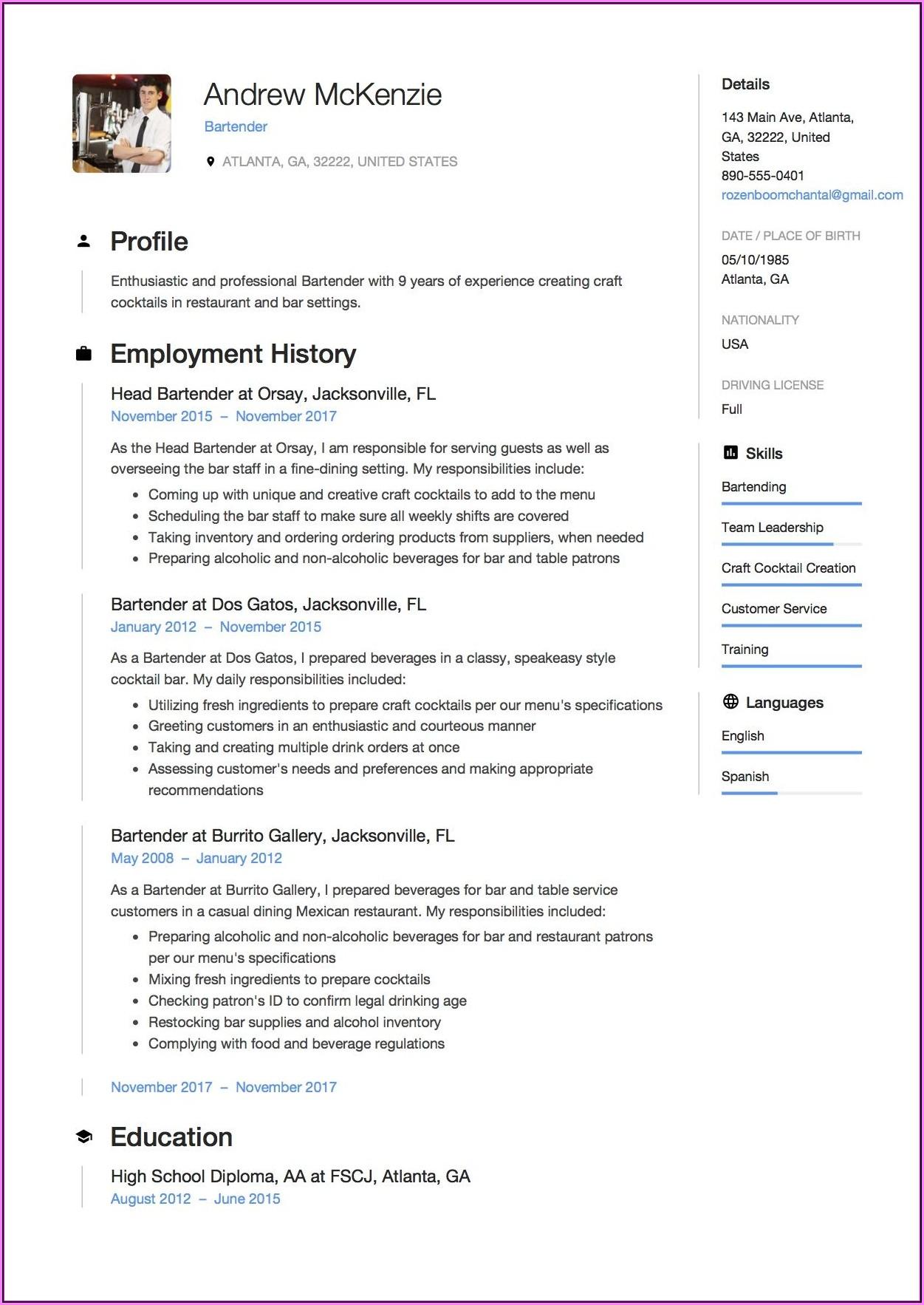 Resume Sample Template Free