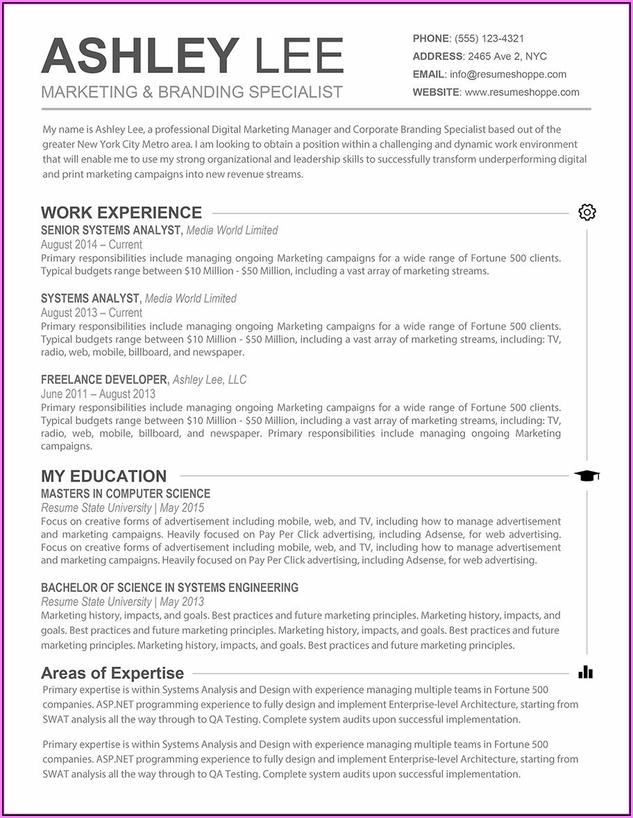 Resume Template Free For Mac