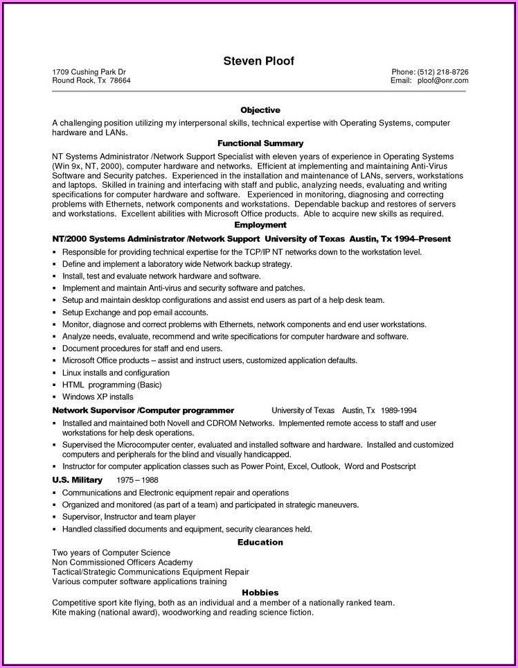 Resume Templates For Sales Jobs