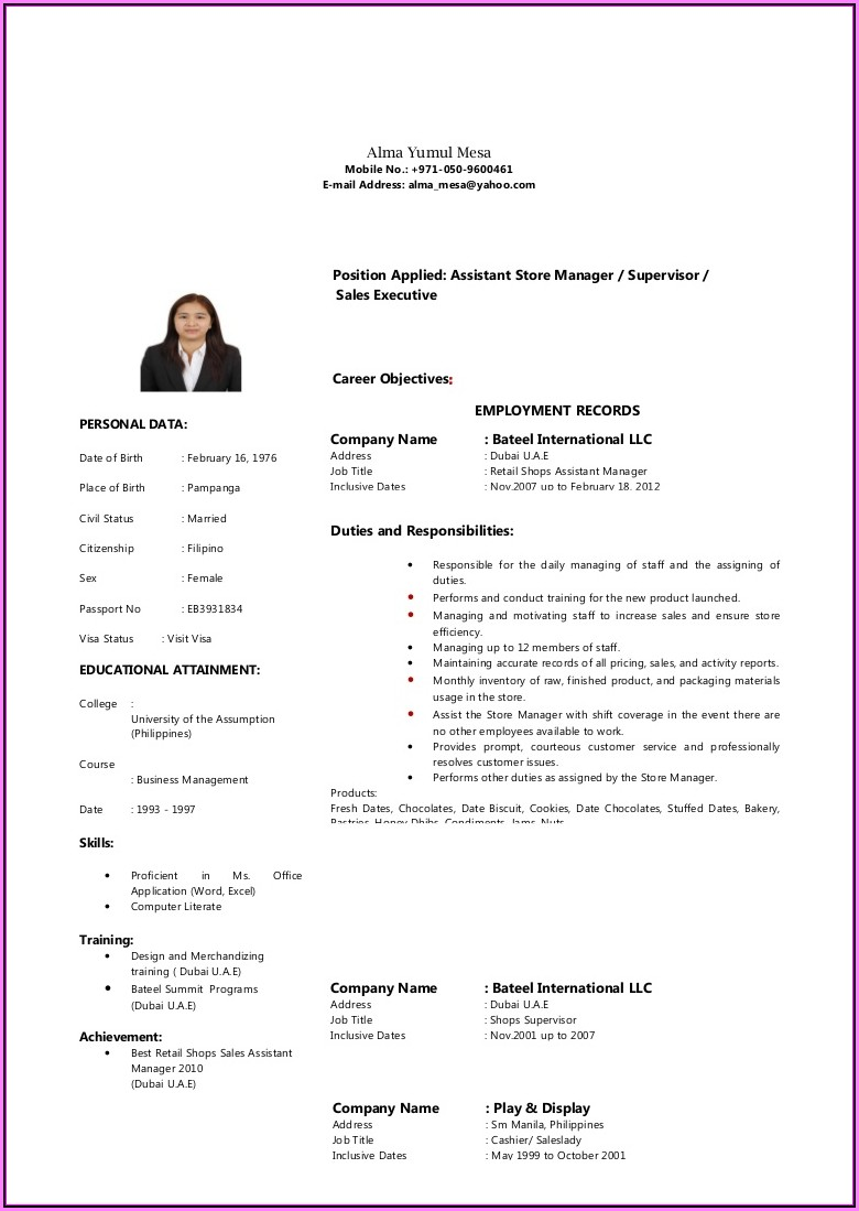 Resume Templates For Sales Lady