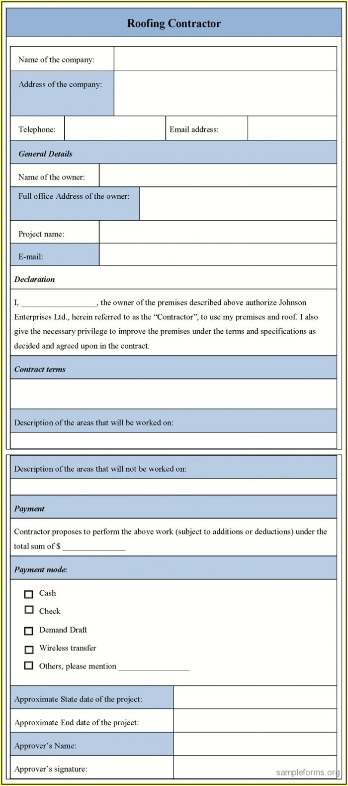 Roofing Contractor Forms