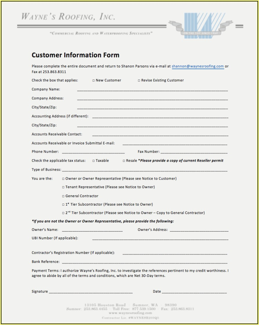 Roofing Warranty Form
