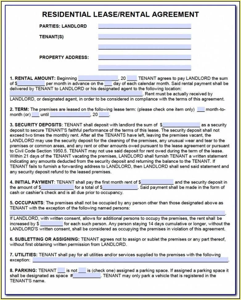 Rsa Rent Stabilized Lease Form Pdf