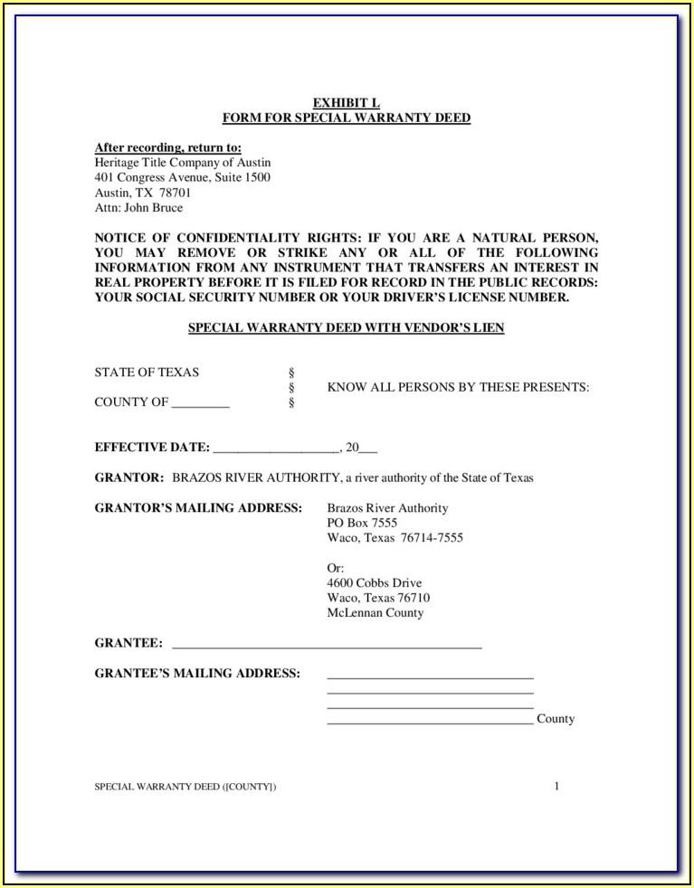 Special Warranty Deed Form Texas Divorce