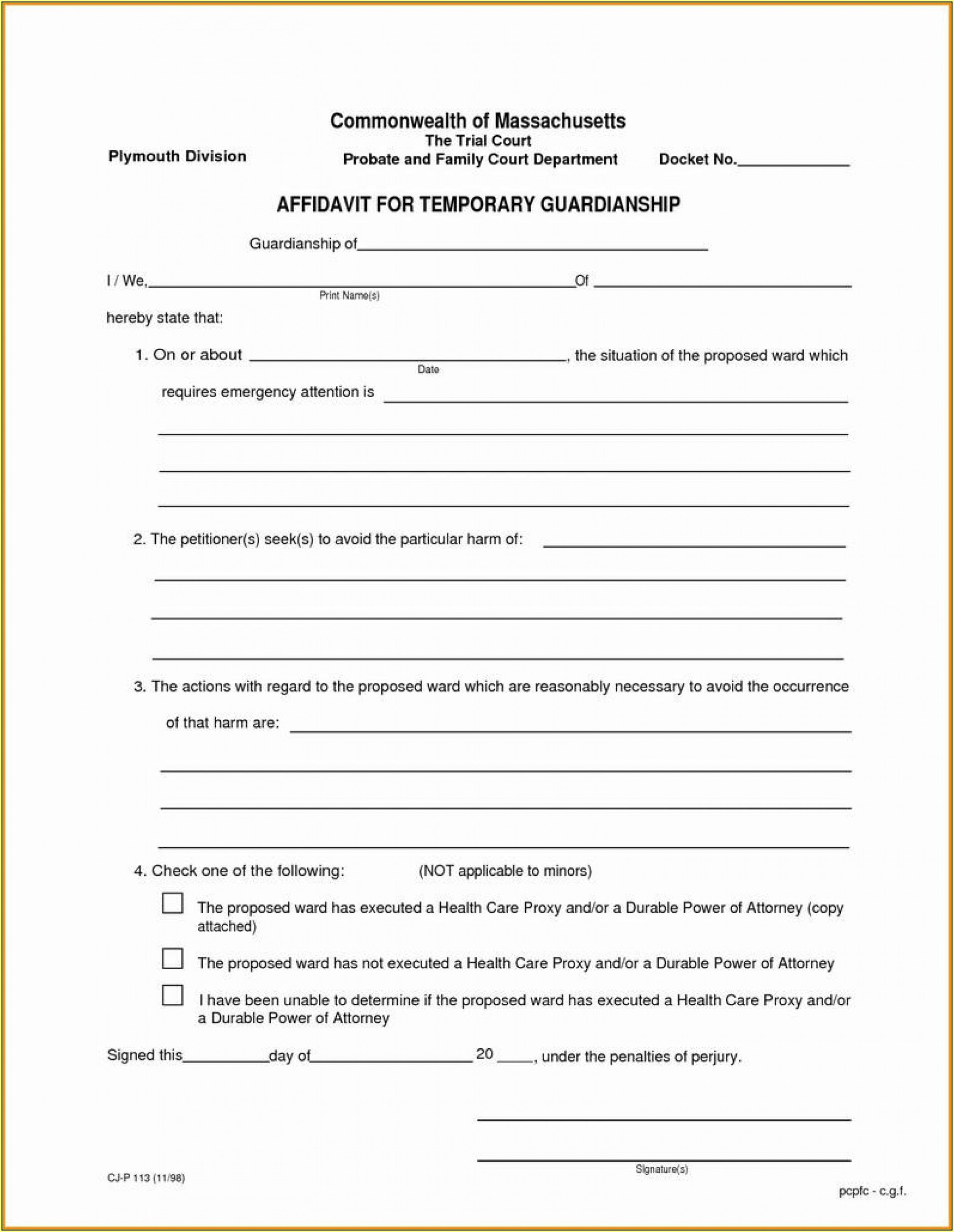Temporary Guardianship Forms Georgia