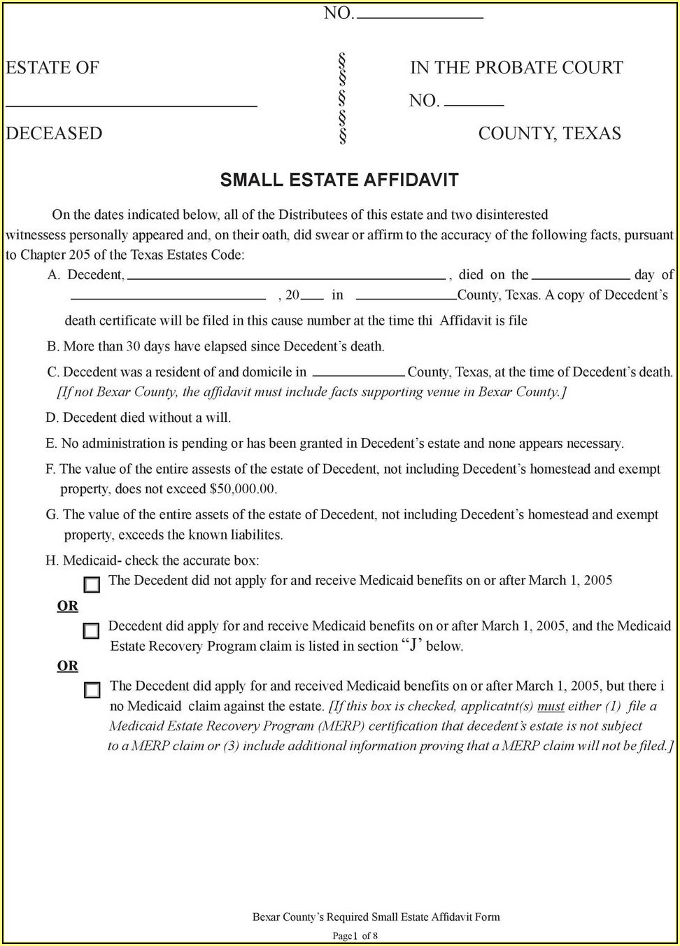 Texas Small Estate Affidavit Form Travis County